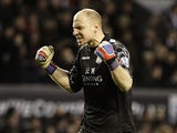 Villa keeper Brad Guzan celebrates the win over Liverpool on December 15, 2012