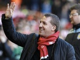 Liverpool boss Brendan Rodgers waves to the crowd before kick-off on December 15, 2012
