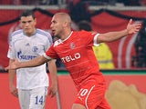Fortuna Dusseldorf's Dani Schahin celebrates after scoring on October 20, 2012