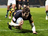 London Wasps' Elliot Daly scores a try on December 13, 2012