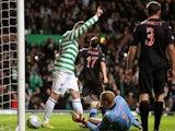 Celtic's Gary Hooper celebrates scoring his team's second goal on December 15, 2012