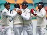Sri Lanka captain Mahela Jayawardene celebrates taking the wicket of Shane Watson on December 14, 2012