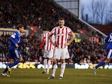 Stoke captain Ryan Shawcross stands dejected after his own goal for Everton on December 15, 2012