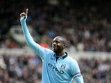 CIty midfielder Yaya Toure celebrates the third goal in the 3-1 win over Newcastle on December 15, 2012