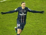 PSG striker Zlatan celebrates his goal against Valenciennes on December 11, 2012