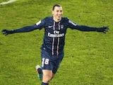 PSG striker Zlatan celebrates his goal against Valenciennes on December 11, 2012