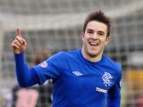 Andy Little celebrates netting his first for Rangers on December 22, 2012