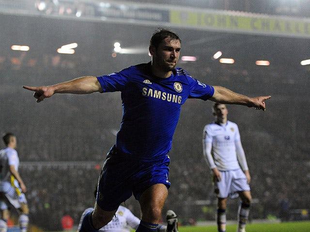 Chelsea's Branislav Ivanovic celebrates scoring his team's second goal on December 19, 2012