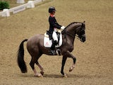 Charlotte Dujardin competing in a World Cup Dressage Qualifier on December 17, 2012