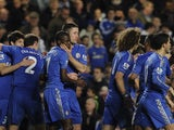 A huddle of happy Chelsea players on December 23, 2012