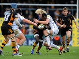 Wasps' Christian Wade is tackled by Sale Sharks' Richie Grey in a game on December 23, 2012