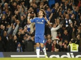 Chelsea's David Luiz celebrates his free-kick against Aston Villa on December 23, 2012