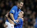 Rangers' David Templeton celebrates his goal versus Annan with Lee Wallace on December 18, 2012