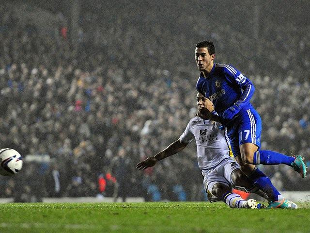 Chelsea's Eden Hazard slots home his team's fourth goal against Leeds on December 19, 2012