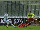 Pescara's Mervan Celik scores the opening goal against Catania on December 21, 2012