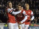 Arsenal's Santi Cazorla celebrates his hat-trick against Reading December 17, 2012