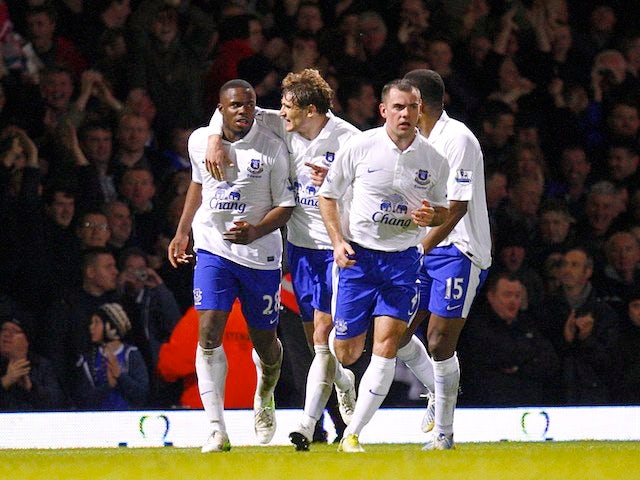 Victor Anichebe celebrates netting the equaliser for Everton on December 22, 2012
