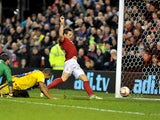Nottingham Forest's Billy Sharp beats opposition to tap in his team's second goal on December 29, 2012
