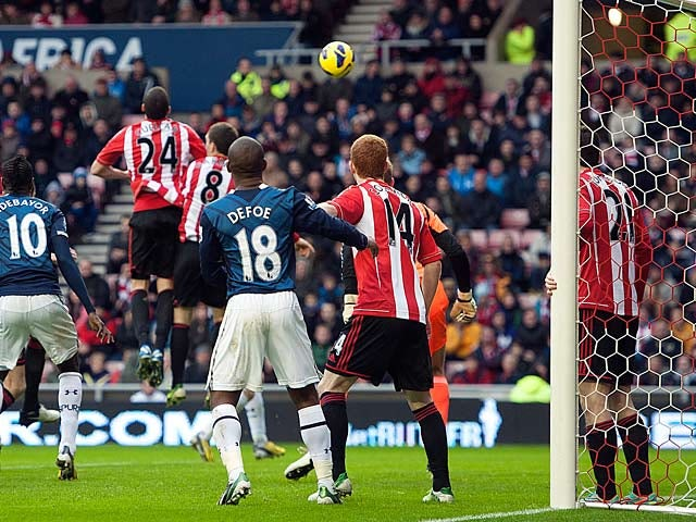 Carlos Cuellar heads in an own goal to give Tottenham the equaliser on December 29, 2012
