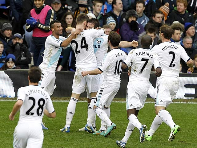 Frank Lampard is congratulated by team mates after scoring the equaliser just before half time against Everton on December 30, 2012