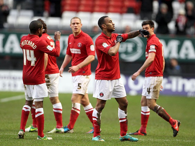 Charlton's Danny Haynes is congratulated by team mates after scoring the opener against Derby on December 29, 2012