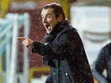 St Mirren manager Danny Lennon instructs his team during the match against Dundee United on December 30, 2012