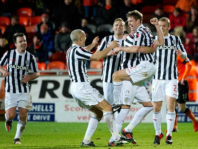 St Mirren's David Van Zanten is congratulated by team mates after scoring against Dundee United on December 30, 2012