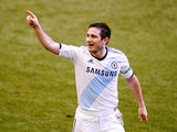 Frank Lampard celebrates scoring his second goal against Everton on December 30, 2012