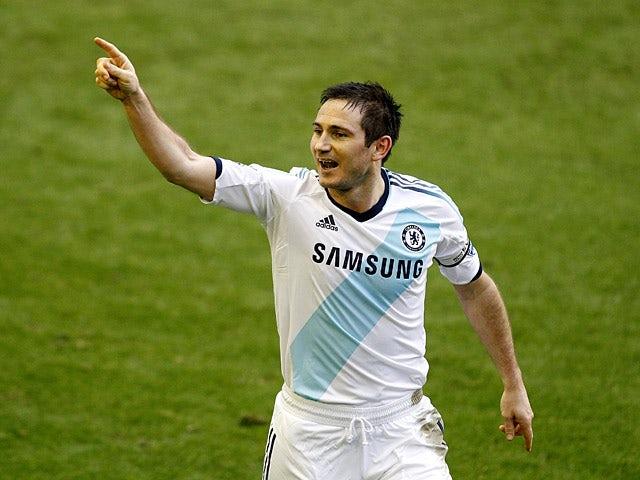 Frank Lampard celebrates scoring his second goal against Everton on December 30, 2012