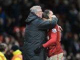 United striker Javier Hernandez is congratulated by Sir Alex Ferguson after his winning strike against Newcastle on December 26, 2012