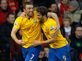 Jay Rodriguez is congratulated by team mate Rickie Lambert after his team's second goal on December 29, 2012