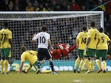 Chelsea star Juan Mata scores the first goal against Norwich on December 26, 2012