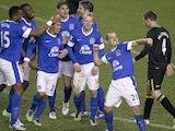 Everton's Leon Osman celebrates his goal against Wigan on Boxing Day 2012