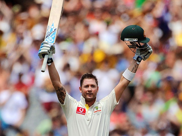 Australian captain Michael Clarke celebrates after scoring a century against Sri Lanka on December 27, 2012