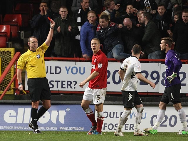 Charlton's Michael Morrison is shown the red card during the match against Derby on December 29, 2012