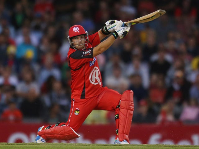 Melbourne Renegades' Aaron Finch in action against Brisbane Heat during their Big Bash League match on December 30, 2013
