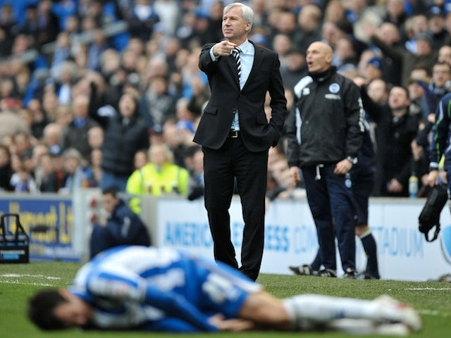 Newcastle manager Alan Pardew on the touchline following the sending off of Shola Ameobi against Brighton on January 5, 2013