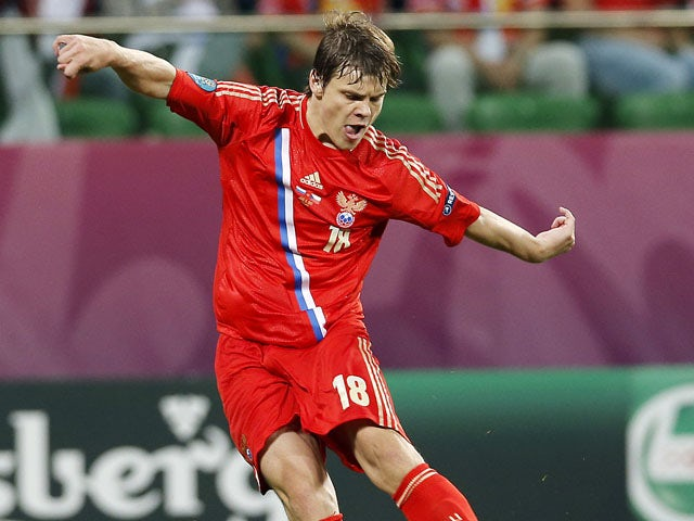 Russia's Alexander Kokorin playing for Russia in Euro 2012 on June 8, 2012