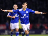Leicester's Anthony Knockaert celebrates their fifth goal against Huddersfield on January 1, 2013