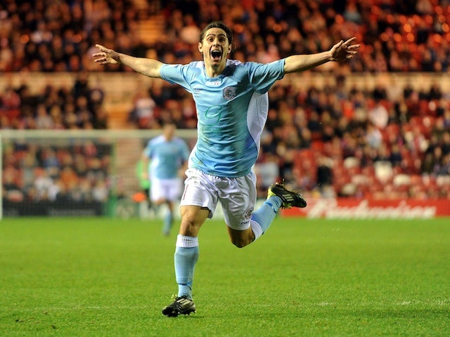Hastings' Bradley Goldburg celebrates his goal against Middlesbrough on January 5, 2013