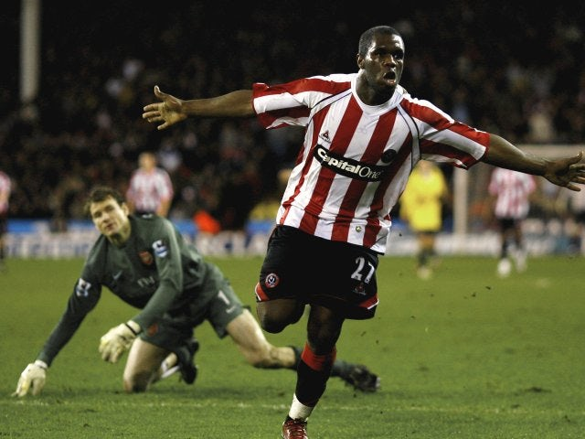 Christian Nade, then of Sheffield United, celebrates scoring against Arsenal on December 30, 2006.