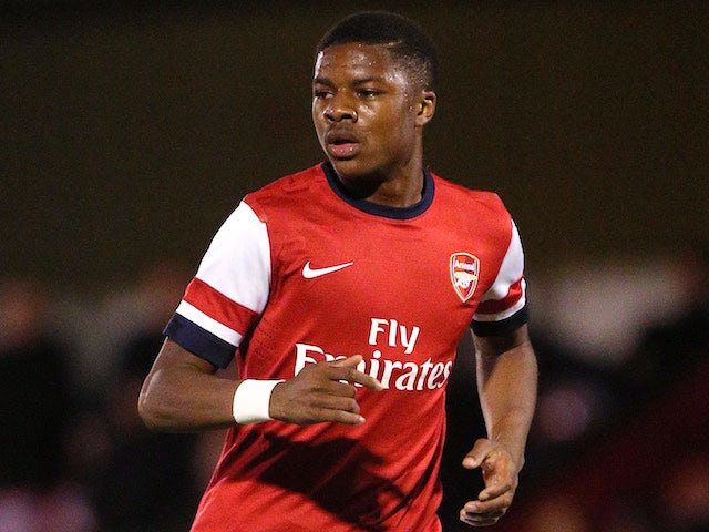 Chuba Akpom of Arsenal attacks during the UEFA Youth League match between Arsenal U19 and Borussia Dortmund U19 at Meadow Park on October 23, 2013