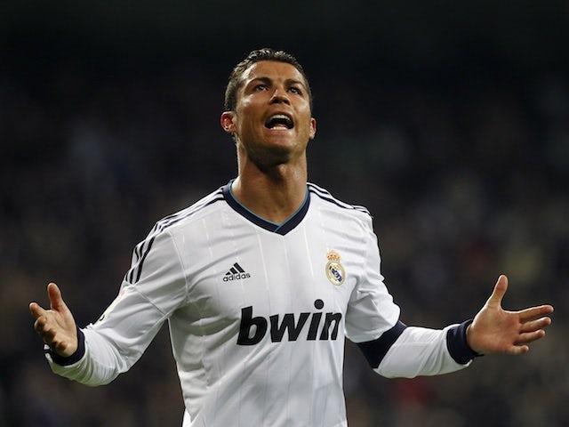 Real Madrid's Cristiano Ronaldo celebrates a goal against Real Sociedad on January 6, 2013