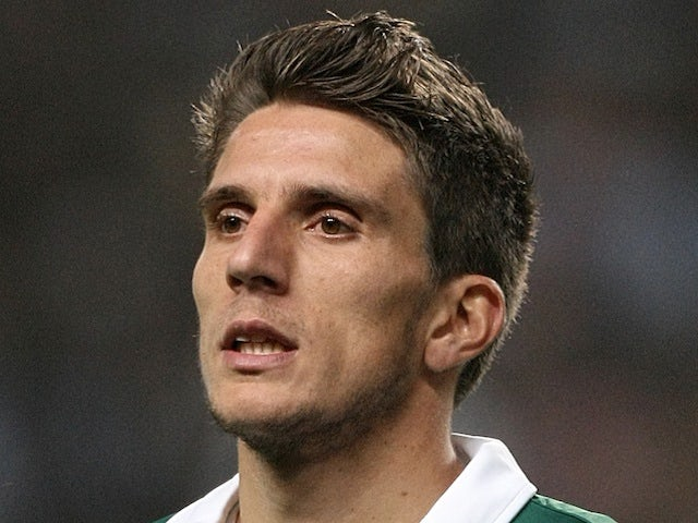 Sporting's Daniel Carrico lines up for a Europa League tie with Man City on March 15, 2012