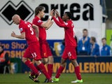 Debutant Daniel Sturridge is congratulated on an early goal against Mansfield Town on January 6, 2013