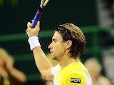 David Ferrer celebrates his win over Paolo Lorenzi in the Qatar Open on January 3, 2013