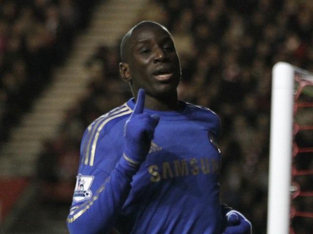 New Chelsea striker Demba Ba celebrates his second debut goal at Southampton on January 5, 2013