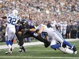 Ravens' Dennis Pitta bursts into the End Zone for a second half touchdown against Indianapolis on January 6, 2013