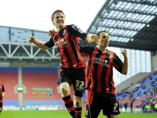 Bournemouth's Eunan O'Kane celebrates his goal against Wigan on January 5, 2013