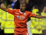 Walsall's Febian Brandy celebrates after scoring the opener against Portsmouth on January 4, 2013